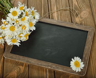 Writing board and daisies Stock Image