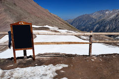 Writing board in the mountains Royalty Free Stock Photography