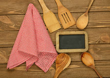 Writing board napkin and spoon Royalty Free Stock Photos