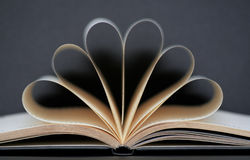 Writing book with golden pages. Curved symmetrical Stock Photo