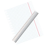 Writing-book leaf in a cage and a ruler.Vector illustration Royalty Free Stock Image