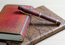 The  writing-book in a leather Stock Photo