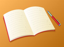 Writing-book. Open writing-book lying on a table. Nearby the handle lies stock illustration