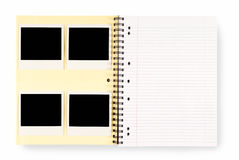 Photo album with polaroid photo frames, copy space, white background Royalty Free Stock Photo