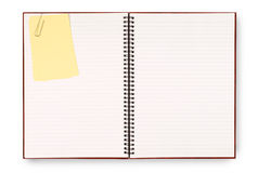 Blank writing book spiral notepad, yellow post it style sticky note isolated on white background Stock Image