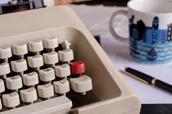 Writing a book with a typewriter. Still life with a details of a typewriter. blogging, text, writing, book Stock Images