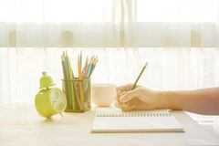 Writing on the book Royalty Free Stock Photography