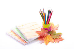 Writing-books, multi-coloured pencils and autumn leaves. Stock Photo