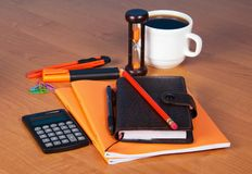 Writing-books and notebook on table Royalty Free Stock Image