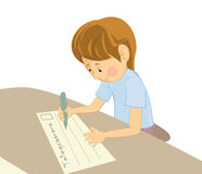 Writing boy Stock Photo