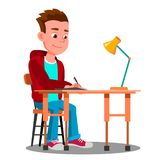 Writing Boy At The Table With Desk Lamp Vector. Isolated Illustration stock illustration