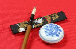 Writing brush. Chinese traditional writing brush on the table Stock Photo