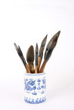 Writing brush. Chinese traditional writing brush in brush pot stock photo