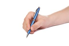 Writing bue pen royalty free stock photography