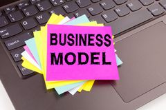 Writing Business Model text made in the office close-up on laptop computer keyboard. Business concept for Digital Marketing Manage Stock Images