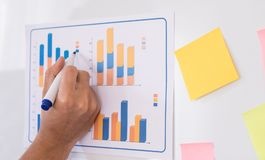 Writing on report on meeting white board. Writing on business report on meeting white board Royalty Free Stock Photo