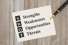 Writing a business SWOT analysis. SWOT Strengths Weaknesses Opportunities Threats text on a card on weathered wood and a pen stock images