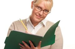Writing Business Woman with Pencil and Folder stock images