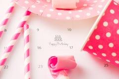 Writing cake on calendar happy birthday.  stock photos
