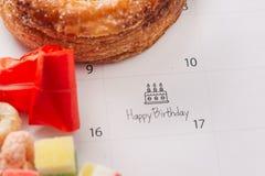 Writing cake on calendar happy birthday.  royalty free stock photo