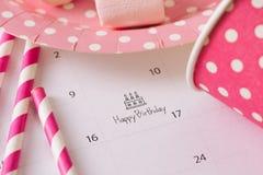 writing cake on calendar happy birthday.
