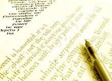 Writing calligraphy on paper stock image