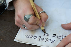 Writing calligraphy pens. Pens for calligraphy writing as in the Middle Ages royalty free stock image