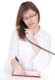 Writing calling young woman Royalty Free Stock Photos