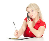 Writing calling young woman Stock Photography