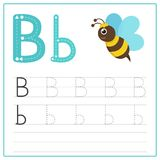 Writing card Alphabet B. Writing card use for kid. A handwritten card. Cards can be used to teach preschoolers royalty free illustration