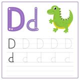 Writing card Alphabet D. Writing card use for kid. A handwritten card. Cards can be used to teach preschoolers Stock Photography