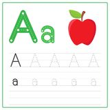 Writing card Alphabet A. Writing card use for kid. A handwritten card. Cards can be used to teach preschoolers vector illustration