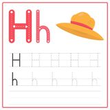 Writing card Alphabet H. Writing card use for kid. A handwritten card. Cards can be used to teach preschoolers Royalty Free Stock Photos