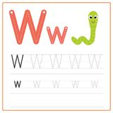 Writing card Alphabet W. Writing card use for kid. A handwritten card. Cards can be used to teach preschoolers Royalty Free Stock Images