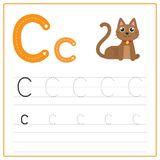 Writing card Alphabet C. Writing card use for kid. A handwritten card. Cards can be used to teach preschoolers royalty free illustration