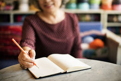 Writing Casual Female Memo Note Leisure Pencil Concept Stock Photography