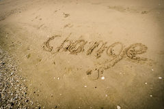 Writing Change words on the sand Royalty Free Stock Photography