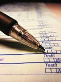 Writing: checkmarks. Writing concept: marking computer check list stock images