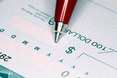 Writing Cheque Royalty Free Stock Photo
