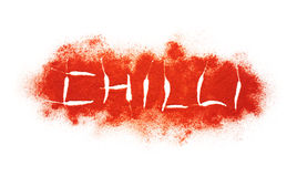 Writing of Chilli word on Chilli Powder Burst Royalty Free Stock Image