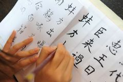 Writing Chinese Calligraphy Royalty Free Stock Photo