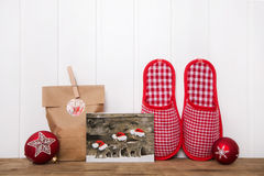 Writing christmas cards and making handmade presents. Wooden bac Royalty Free Stock Image