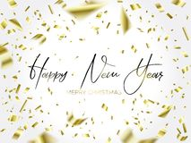 The writing Christmas and falling gold confetti. Black lettering Christmas and Falling Golden Confetti on white background. Merry christmas and happy new year stock illustration