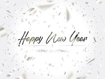 The writing Christmas and falling silver confetti. Black lettering Christmas and Falling Silver Confetti on white background. Merry christmas and happy new year royalty free illustration