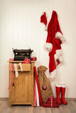 Writing christmas wishes with an antique typewriter. Vintage Xma Stock Photography