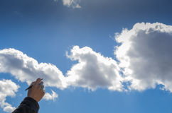 Writing on the clouds. Writing the clouds with an old fountain pen Royalty Free Stock Photography
