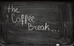 Writing 'coffee break' on blackboard Royalty Free Stock Image