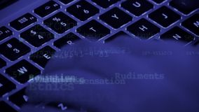 Writing computer code,Typing laptop Keyboard,compu Royalty Free Stock Images