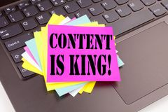 Writing Content Is King text made in the office close-up on laptop computer keyboard. Business concept for Business Marketing Onli Royalty Free Stock Images