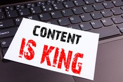 Writing Content Is King text made in the office close-up on laptop computer keyboard. Business concept for Business Marketing Onli Stock Photos